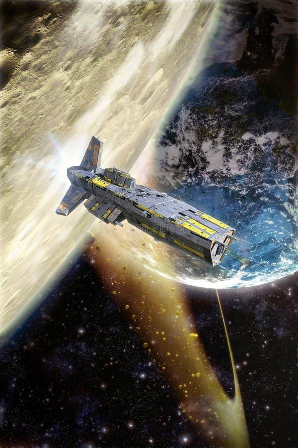 Ruimteschip en na aarde royalty-vrije illustratie