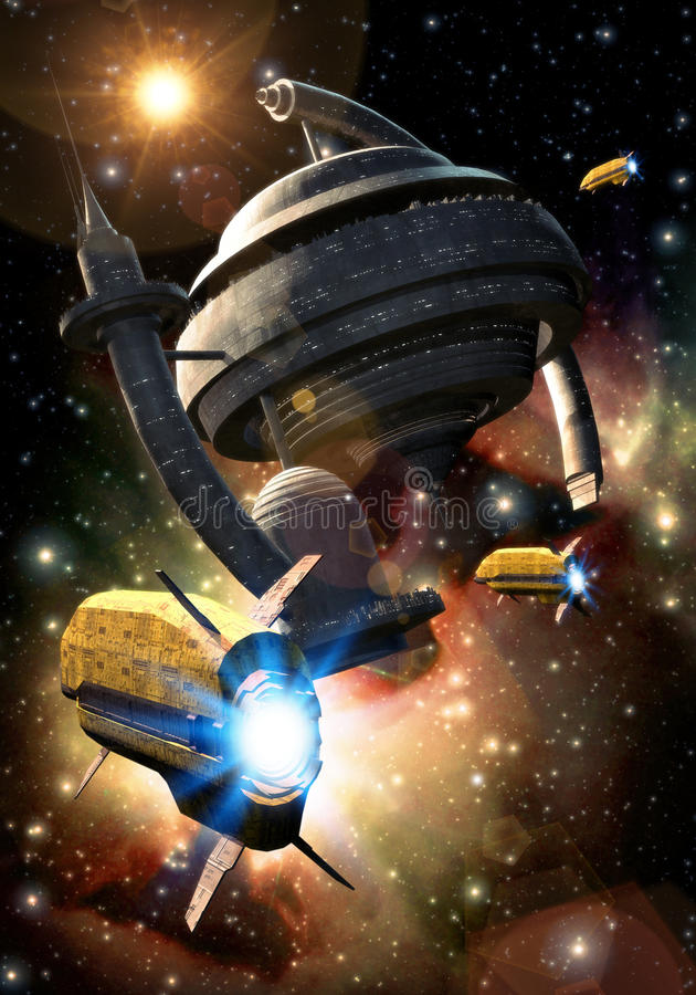 Ruimteschip en ruimtestation stock illustratie