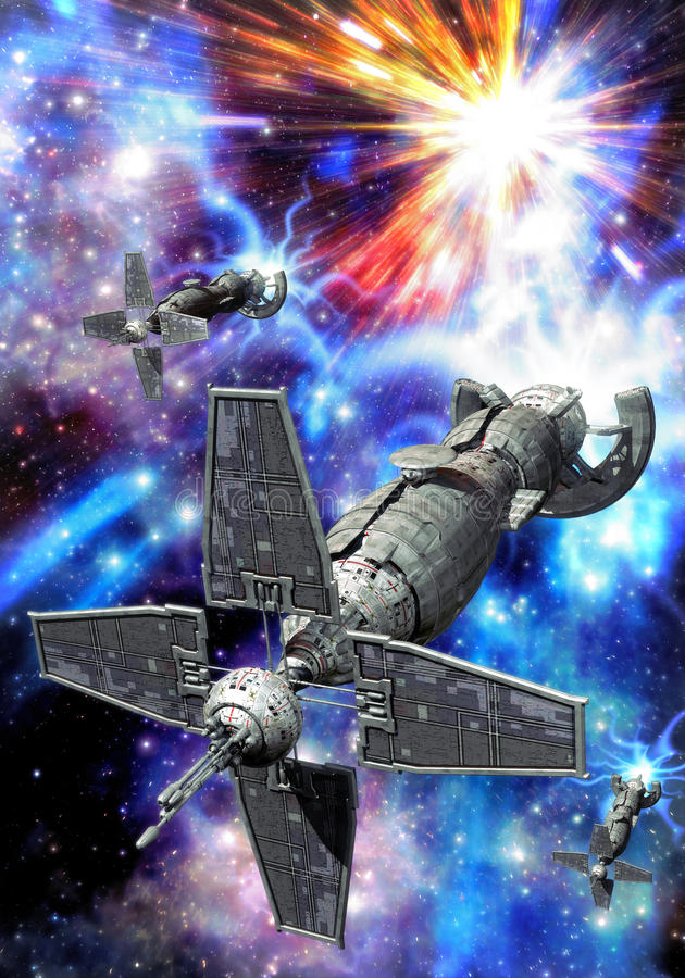 Ruimteschip en supernova royalty-vrije illustratie