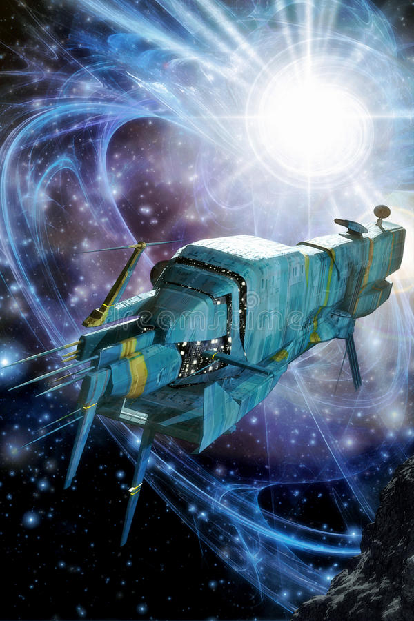 Ruimteschip en supernova vector illustratie