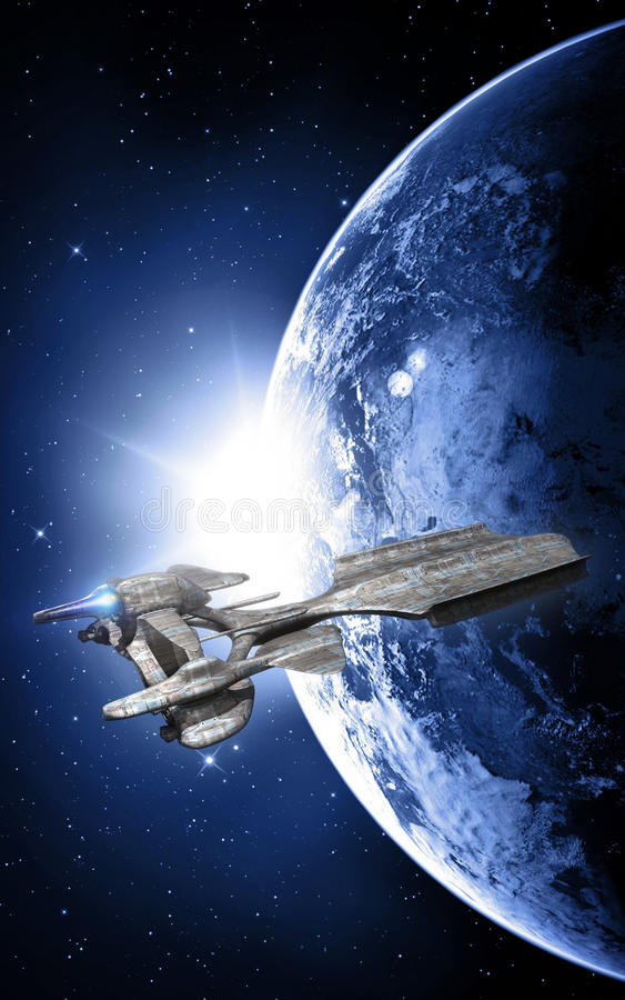 Ruimteschip en zonsondergang in ruimte royalty-vrije illustratie