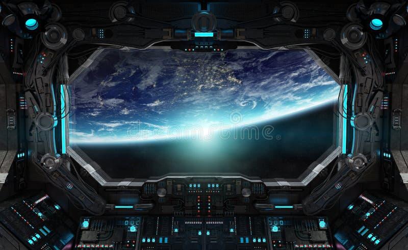 Ruimteschip grunge binnenland met mening over aarde royalty-vrije illustratie