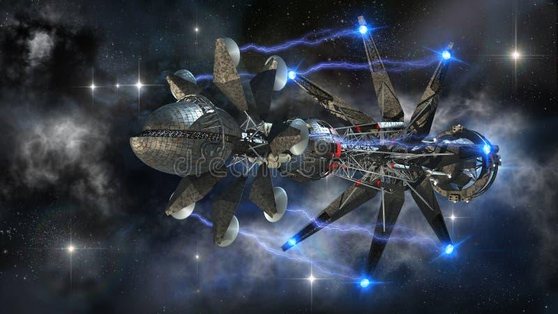 Ruimteschip in interstellaire reis royalty-vrije illustratie