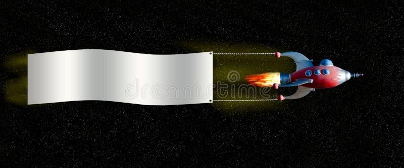 Ruimteschip met banner stock afbeeldingen