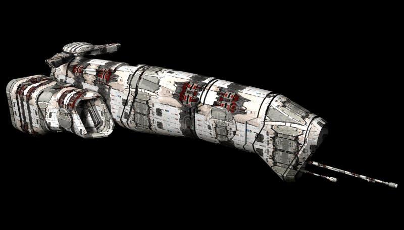 Ruimteschip op een zwarte achtergrond wordt geïsoleerd die stock illustratie