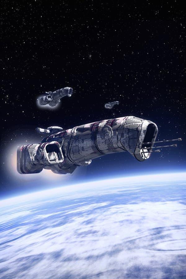 Ruimteschip op patrouille over een planeet royalty-vrije illustratie