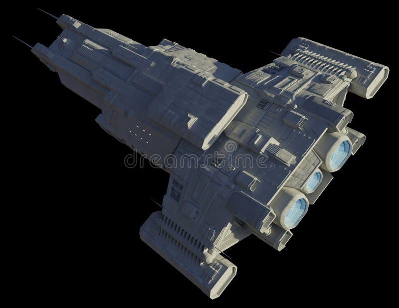 Ruimteschip is op zwart geïsoleerd - diagonaal vanaf boven vector illustratie