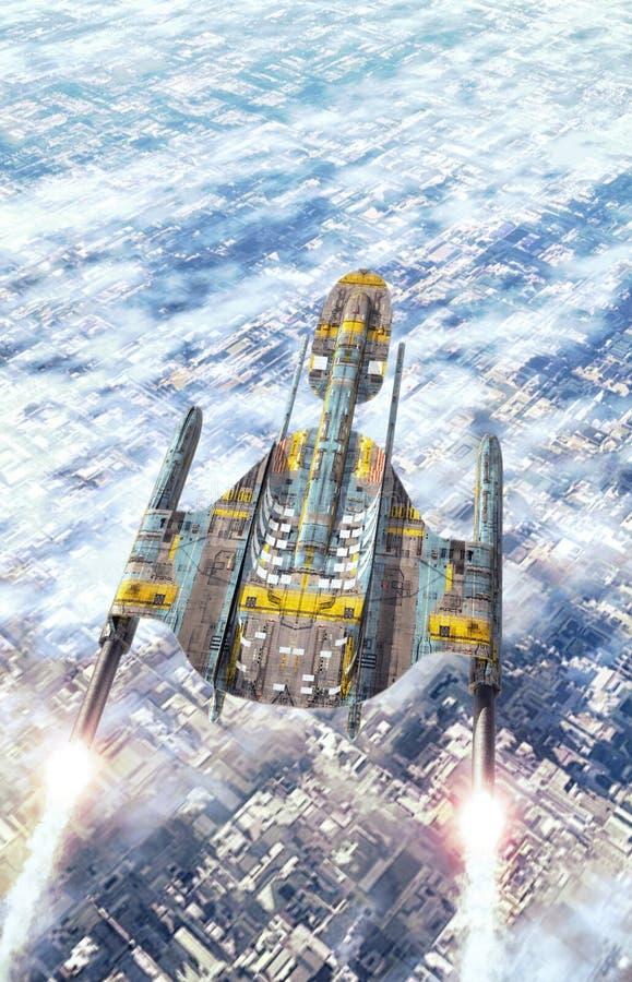 Ruimteschip over een stad stock illustratie