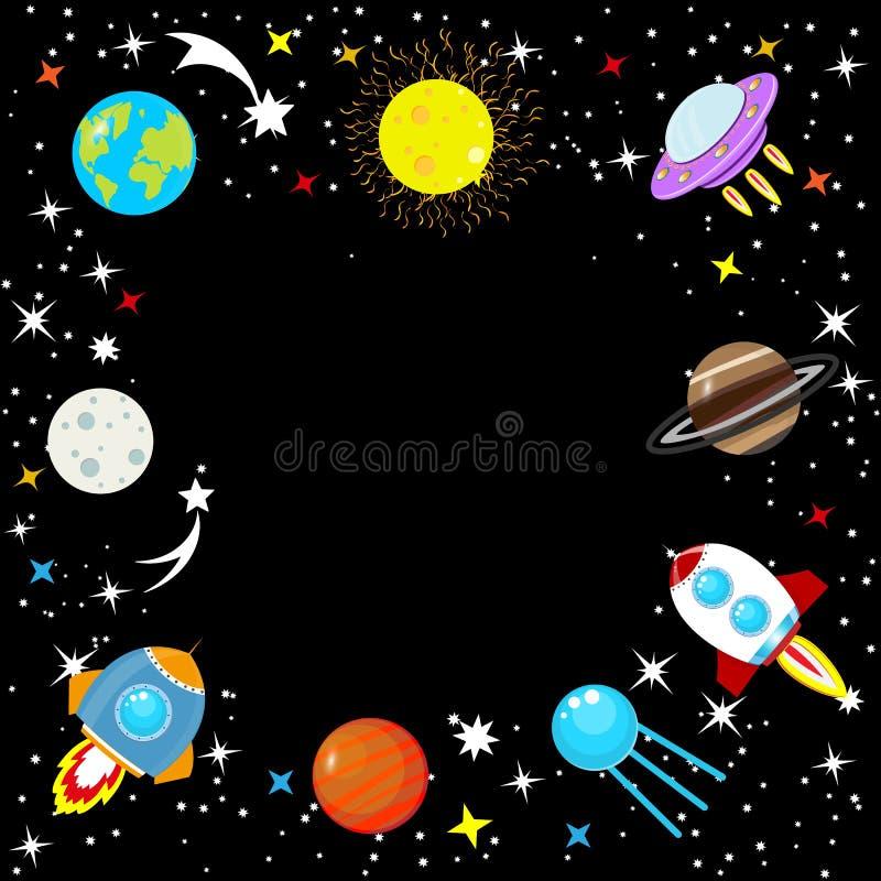 Ruimteschip in ruimte onder sterren, aarde en Maan, Mars, Jupiter, maan, UFO De Raket van het beeldverhaal Het eenvoudige ruimtek stock illustratie