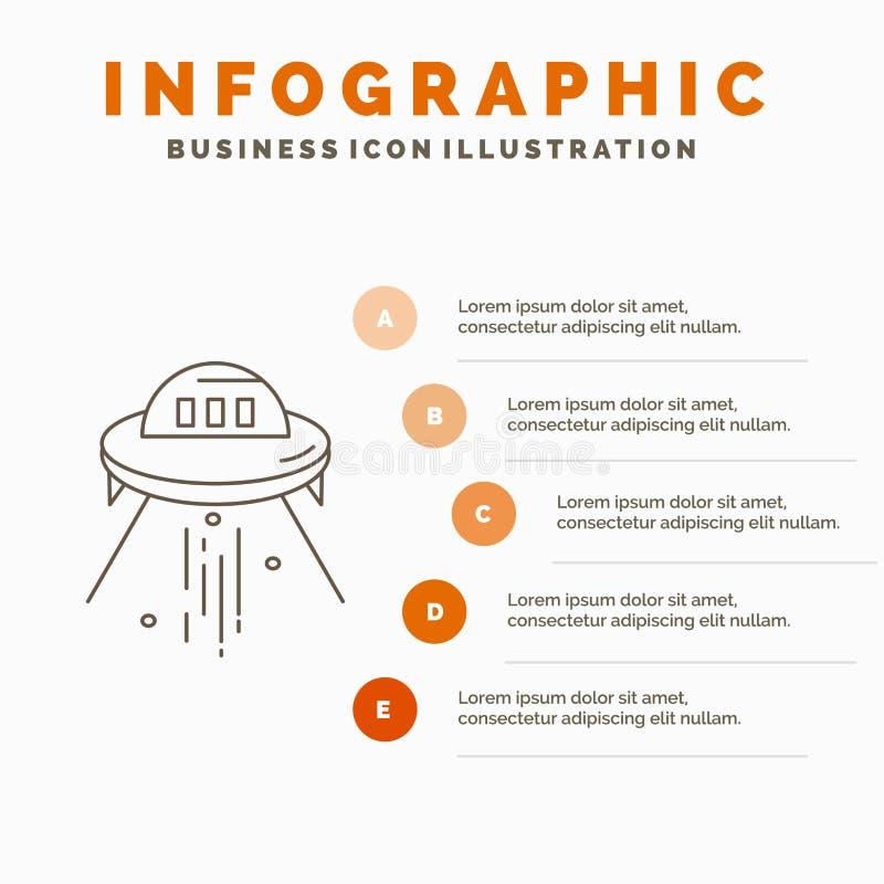 ruimteschip, ruimte, schip, raket, vreemd Infographics-Malplaatje voor Website en Presentatie r stock illustratie
