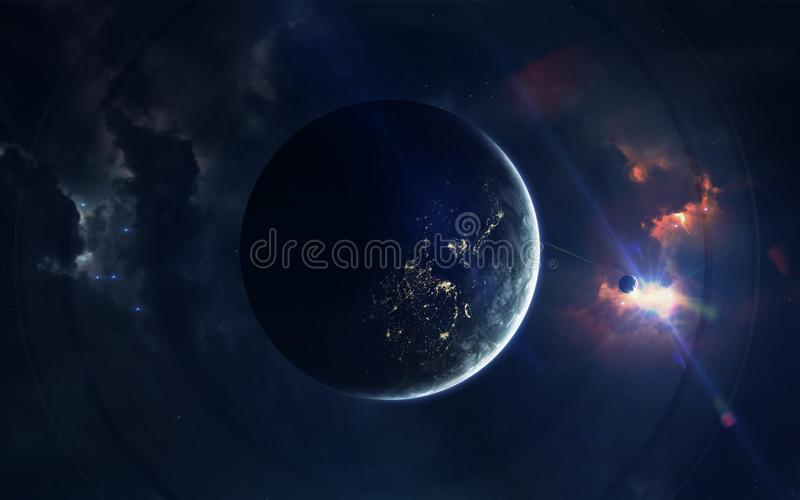 Ruimtescience fictionbeeld Dit die beeldelementen door NASA worden geleverd stock foto's