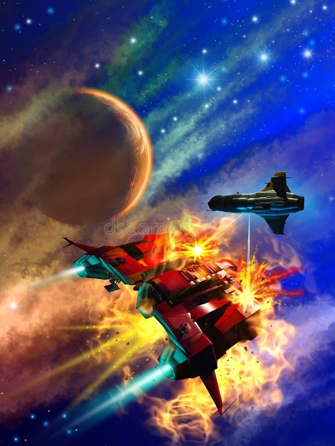Ruimteslag rond een vreemde planeet, 3d illustratie stock illustratie