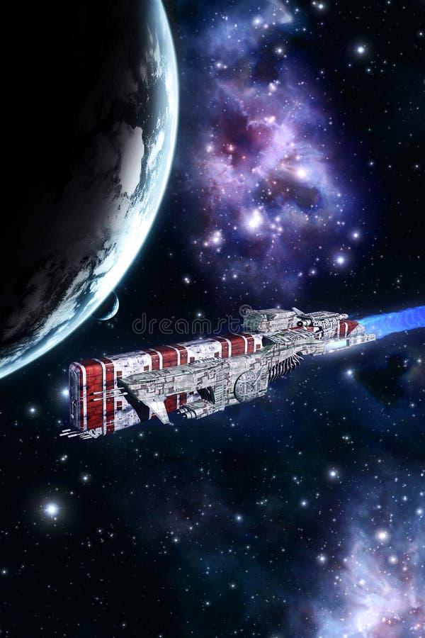 Ruimteslagschip en planeet stock illustratie