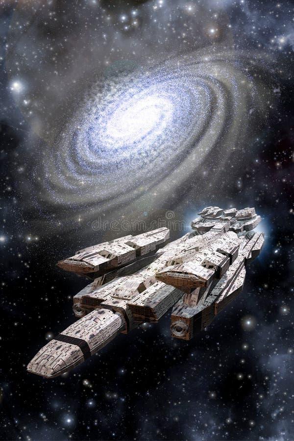 Ruimteslagschipruimteschip en Melkweg royalty-vrije illustratie