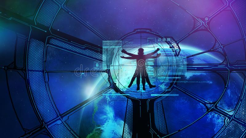 Ruimtestation in baan, Vitruvian-astronaut vector illustratie
