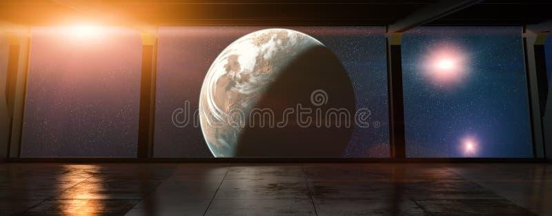 Ruimtestation - bekijk op een planeet vanuit een ruimtestation in een baan om de aarde royalty-vrije illustratie