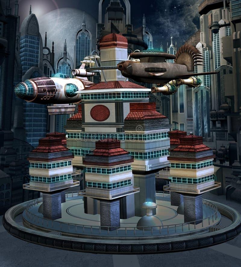 Ruimtestation in een modern stadslandschap vector illustratie