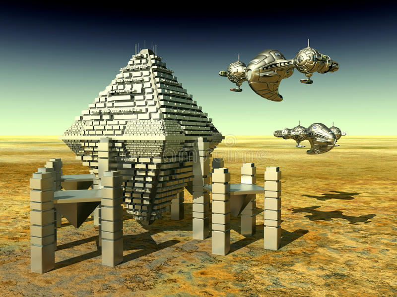 Ruimtestation en Spaceships royalty-vrije illustratie