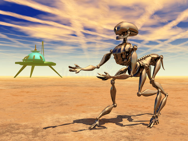 Ruimtestation en Vreemde Robot in een Verre Wereld stock illustratie