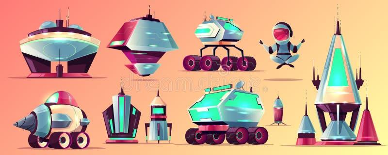 Ruimtestations en voertuigenbeeldverhaal vectorreeks stock illustratie