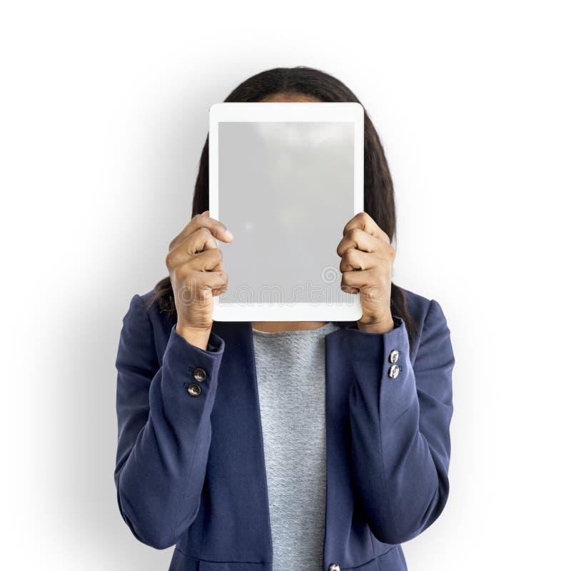 Ruimtetechnologie van het onderneemster de Digital Tablet Face Behandelde Exemplaar stock foto