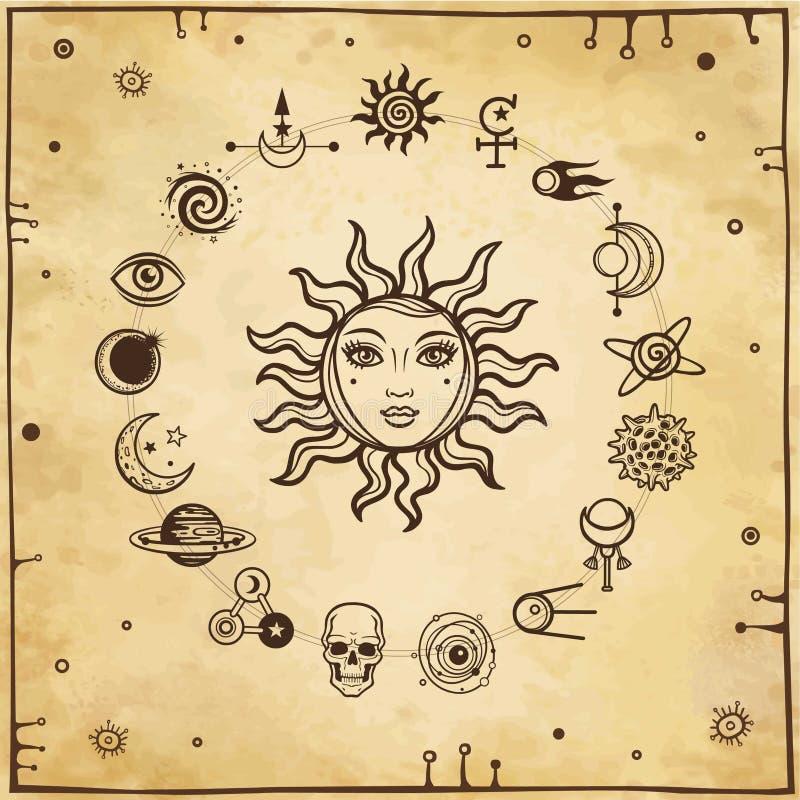 Ruimtetekening: de zon met een menselijk gezicht, reeks mystieke pictogrammen stock illustratie