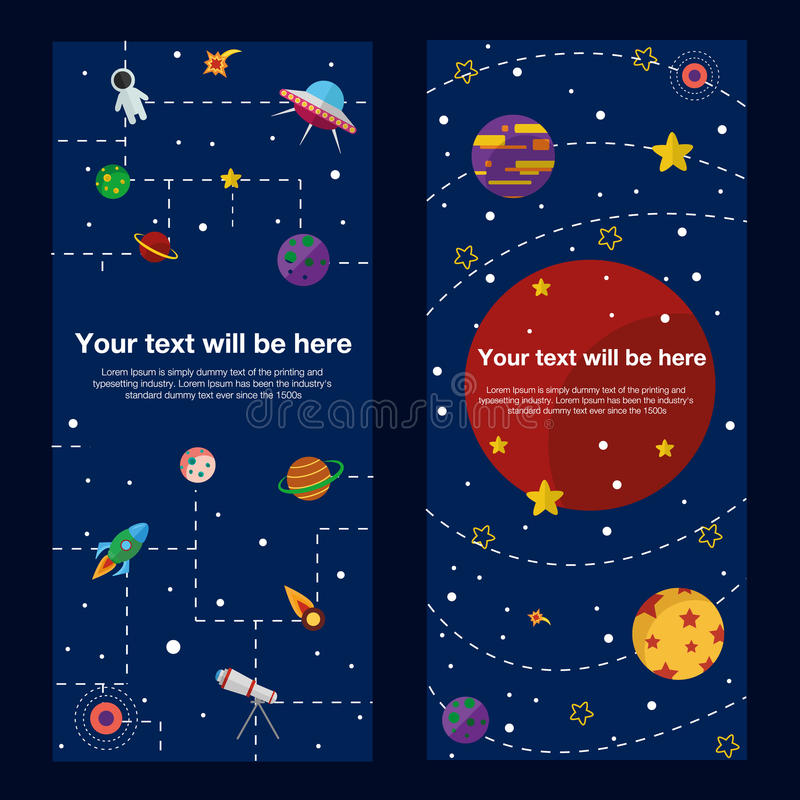 Ruimtethemabanners en kaarten met vlakke astronomisch stock illustratie