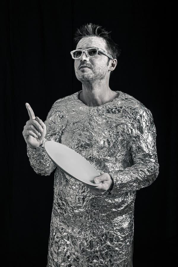 Ruimtevaarder met UFOufo stock fotografie