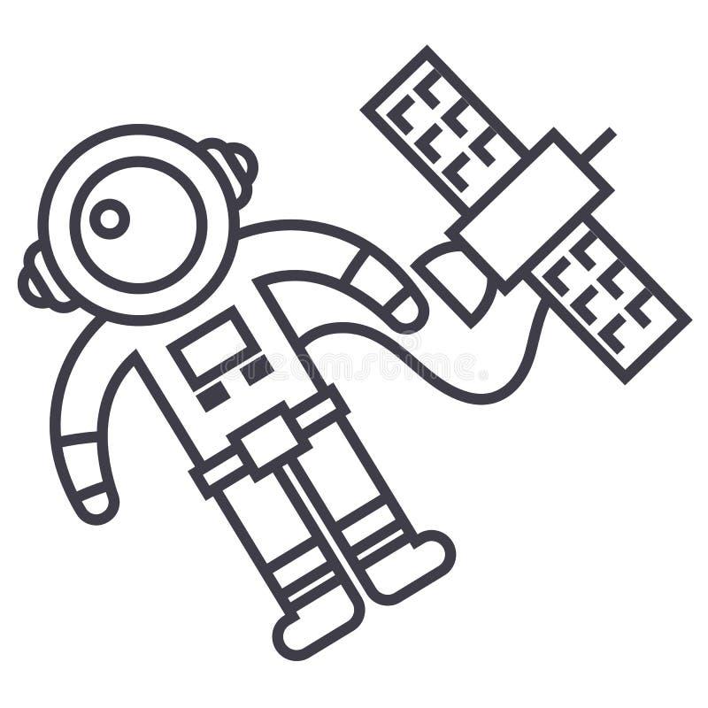 Ruimtevaarder in ruimte met pictogram van de ruimteschip het vectorlijn, teken, illustratie op achtergrond, editable slagen royalty-vrije illustratie