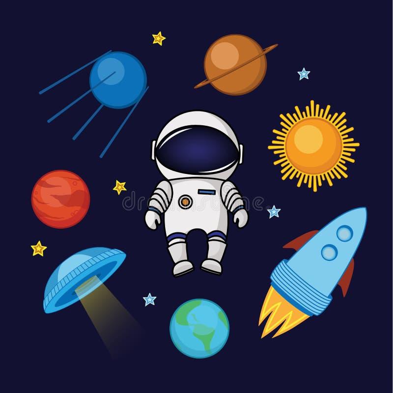 Ruimtevaarder in ruimte, raket, satelliet, UFO, planeten en sterren royalty-vrije illustratie