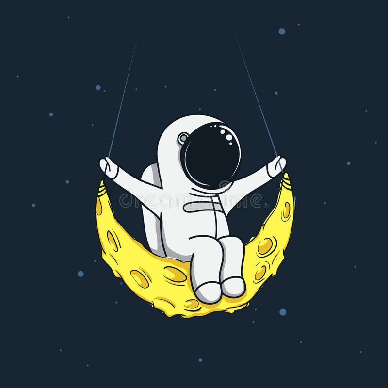 Ruimtevaardersslingering op de maan vector illustratie