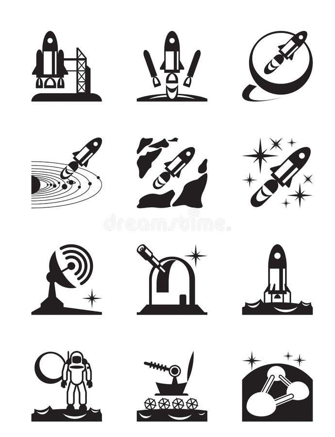 Ruimtevaartopdrachtreeks pictogrammen royalty-vrije illustratie
