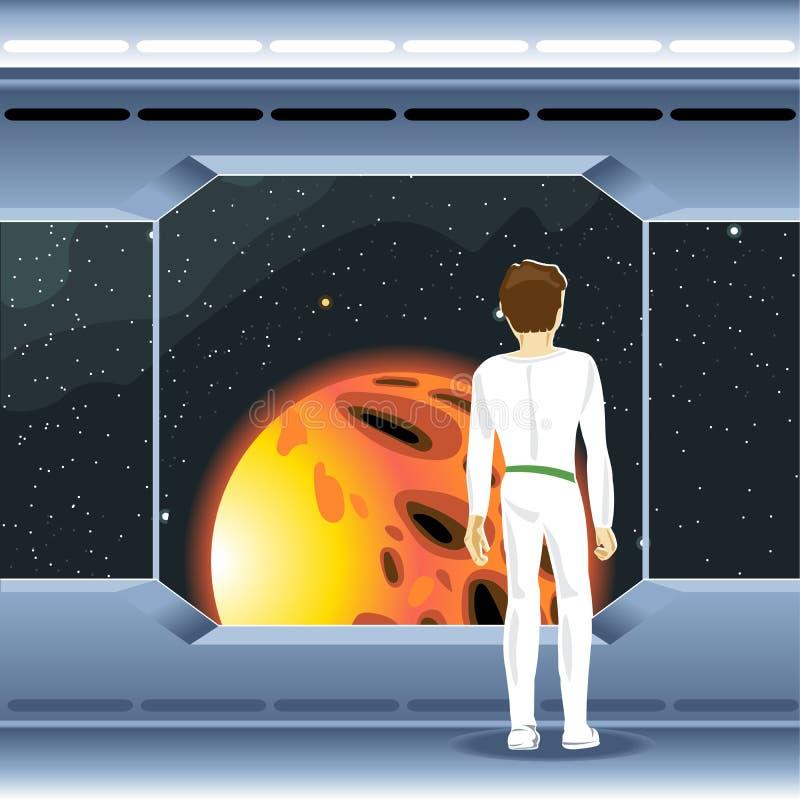 Ruimtevaartuig binnenlandse mening en venster aan ruimte en zon stock illustratie
