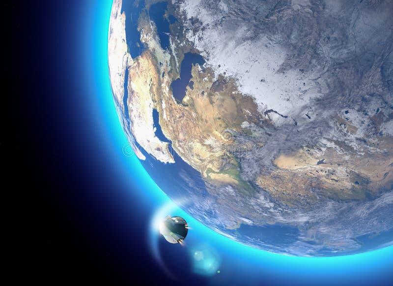 Ruimtevaartuig, de orbitale capsule van de bemanningsdrager Baan rond de Aarde Satellietmening van de Aarde Atmosfeer, wrijving royalty-vrije illustratie