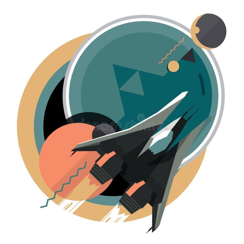 Ruimtevaartuig, ruimteschip in ruimte, planeet royalty-vrije illustratie