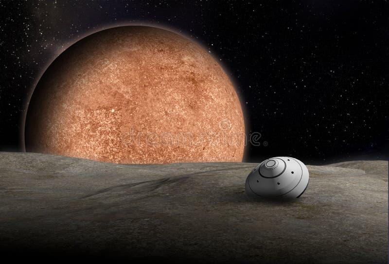 Ruimtevaartuigdaling neer aan onbekende planeet royalty-vrije illustratie