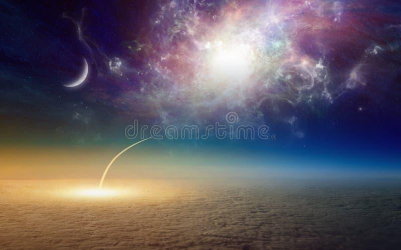 Ruimteveer die, opdracht aan diepe kosmische ruimte opstijgen stock illustratie