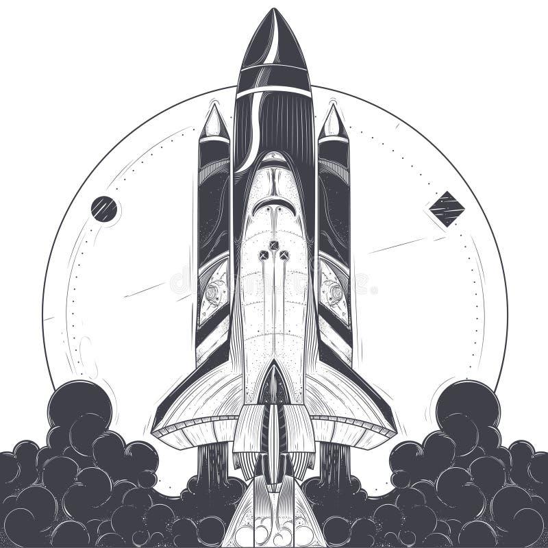 Ruimteveer met de lanceringsvector van dragerraketten stock illustratie