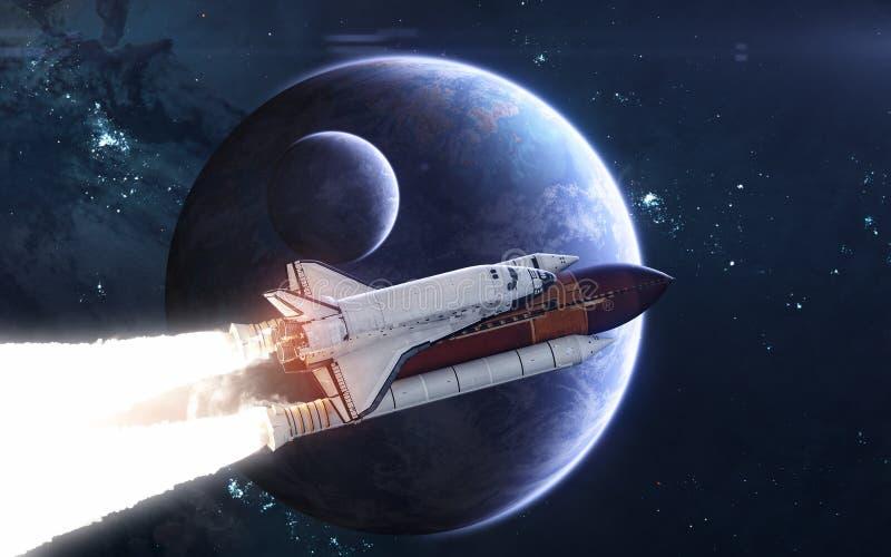 Ruimteveer tegen achtergrond van diepe ruimteplaneten Exoplanets in blauw licht Science fiction royalty-vrije stock foto