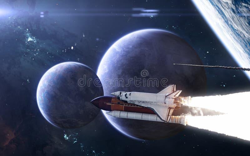 Ruimteveren die vanaf diepe ruimteplaneet vliegen Exoplanets in blauw licht Science fiction royalty-vrije stock fotografie