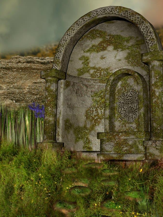 Download Ruin stock illustration. Illustration of ruin, moss, cloud - 7287460