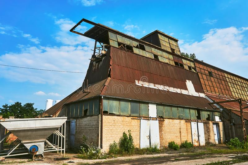 The ruin of an abandoned factory hall. In Poznan royalty free stock image