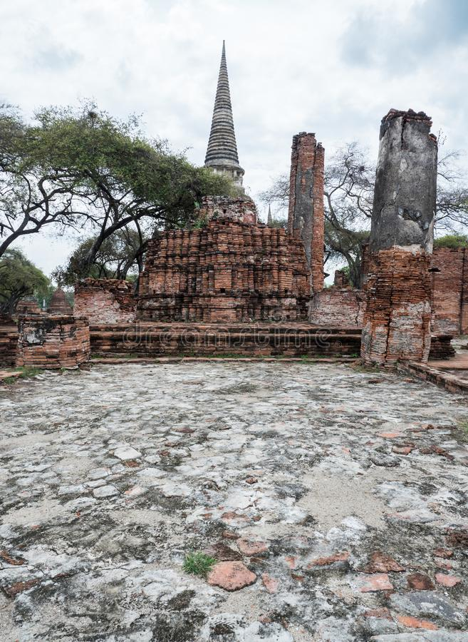 The ruin of the ancient large pagoda. stock photo