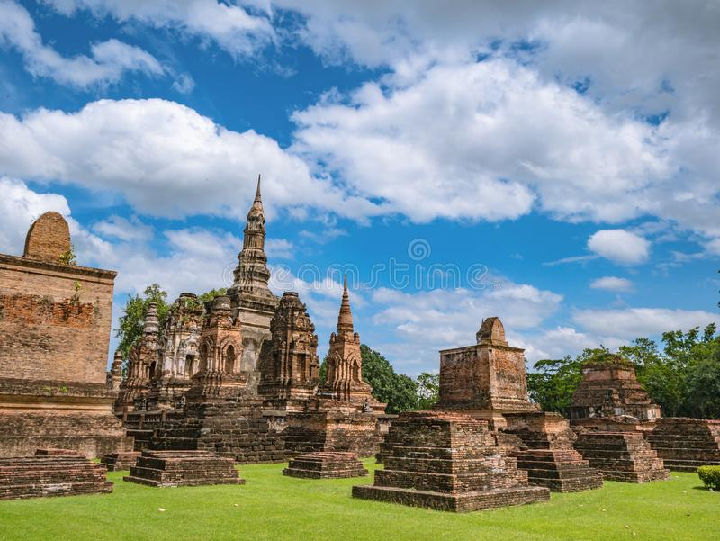 Ruin of ancient Pagoda or stupa in Wat mahathat Temple Area At sukhothai historical park. Sukhothai city Thailand stock photography