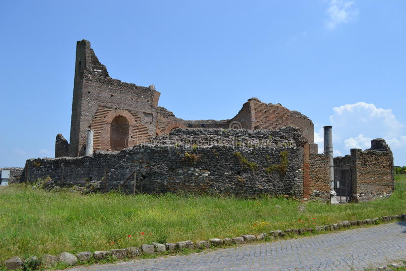 Ruin on appia antica. Ruins on historical road appia antica in Rome, Italy stock photos