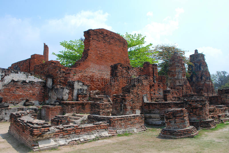 Ruin of Ayuthaya Kingdom stock image