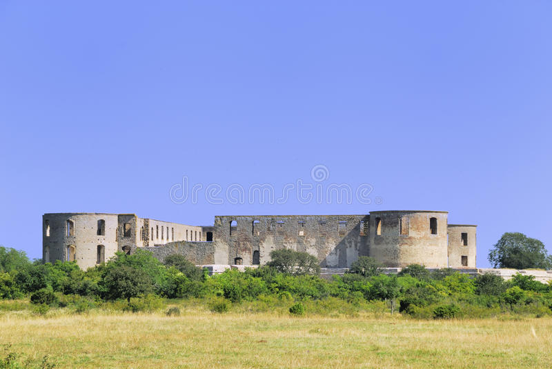 The Ruin at Borgholm. The Castle of Borgholm Oeland Sweden, built in Renaissance times and burned down in the 18th century. Now a landmark for the city Borgholm stock photos