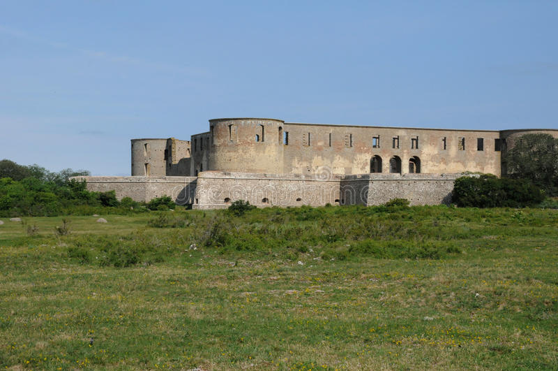 Ruin of Borgholm renaissance castle stock image