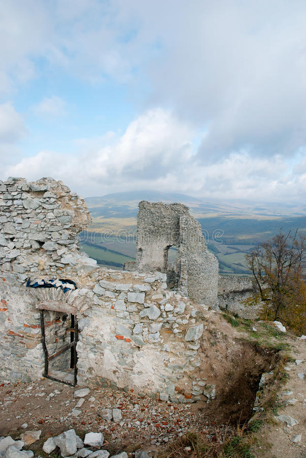 Ruin of castle Gymes, wall and door. Ruin of castle Gymes, Slovakia. Wall and door. View from above royalty free stock images