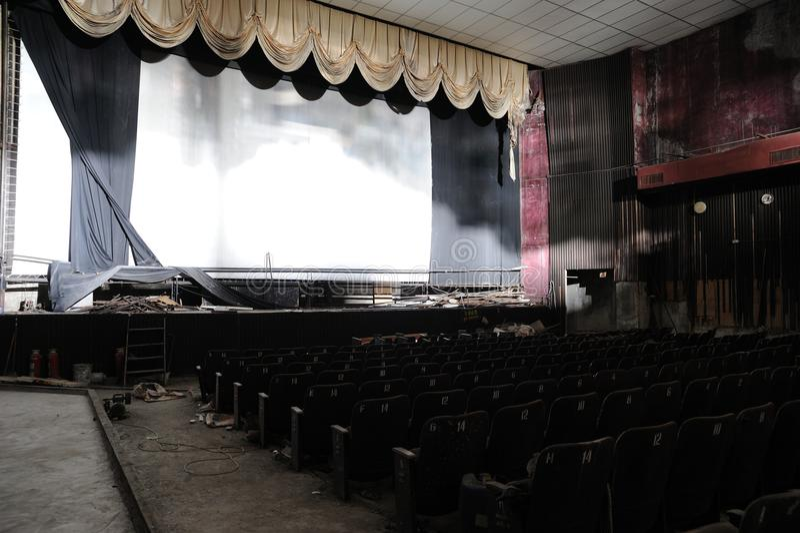 Ruin of cinema. A cinema ruin in Hong Kong stock images